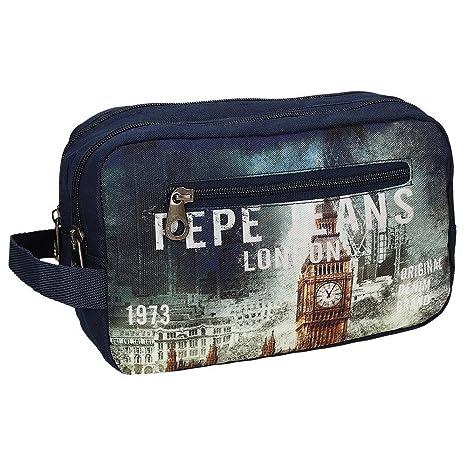 Pepe Jeans Neceser Grande con Dos Compartimentos, Diseño London, Color Azul, 4.99 litros