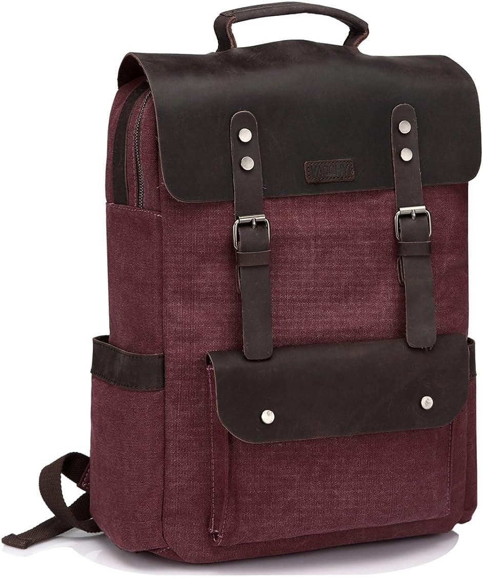 Vaschy Vintage Leather Backpack for Men Canvas Rucksack Bookbag Daypack