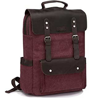 55c62db73f90 Vintage Leather Canvas Backpack for Women fits 15.6 inch Laptop Business  Travel Rucksack for School Burgundy