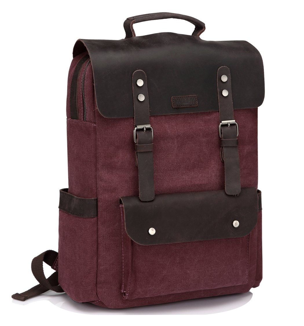 Vintage Leather Canvas Backpack for Women fits 15.6 inch Laptop Business Travel Rucksack for School Burgundy by VASCHY