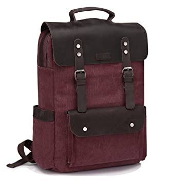 c8c2730714af Amazon.com  Vintage Leather Canvas Backpack for Women fits 15.6 inch ...