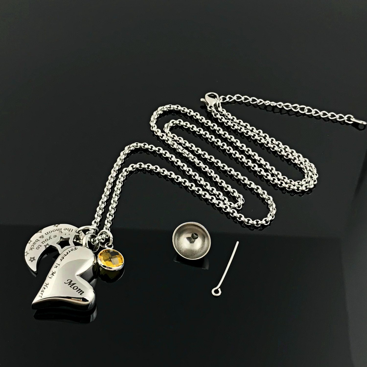 YOUFENG Urn Necklaces for Ashes I Love You to The Moon and Back for Mom Cremation Urn Locket Birthstone Jewelry