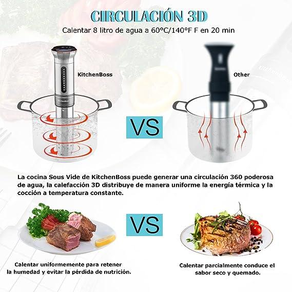 KitchenBoss Sous Vide Aparato de Cocina Precisión 1100W Inmersión ...