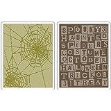 Sizzix Texture Fades Embossing Folders 2PK - Halloween Words & Cobwebs Set by Tim Holtz