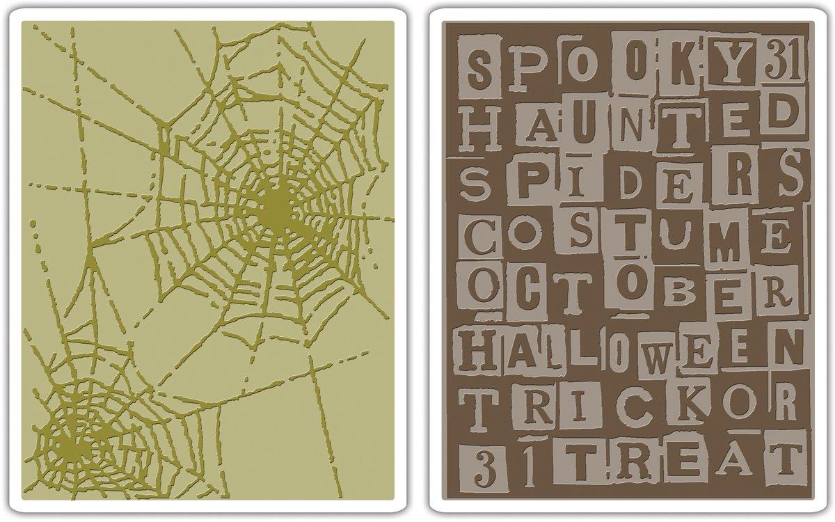 Sizzix Texture Fades Embossing Folders 2PK - Halloween Words & Cobwebs Set by Tim Holtz Ellison 656942