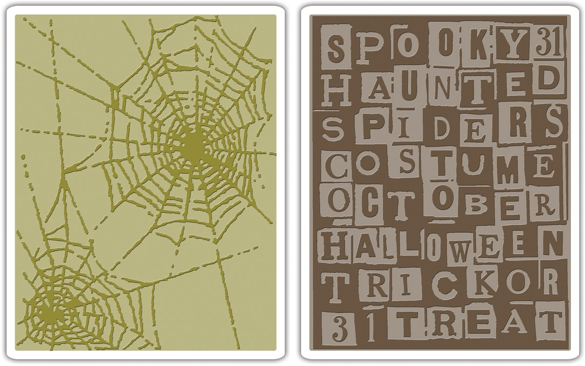 Sizzix Texture Fades Embossing Folders 2PK - Halloween Words & Cobwebs Set by Tim Holtz