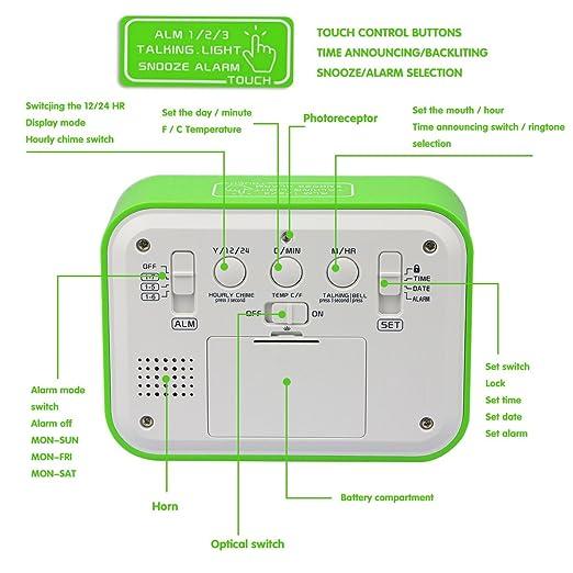 Reloj Digital Aiduy, Reloj despertador con fecha y indicador de temperatura, alarma de sensor táctil y de luz, para niños y adolescentes (Verde): Amazon.es: ...