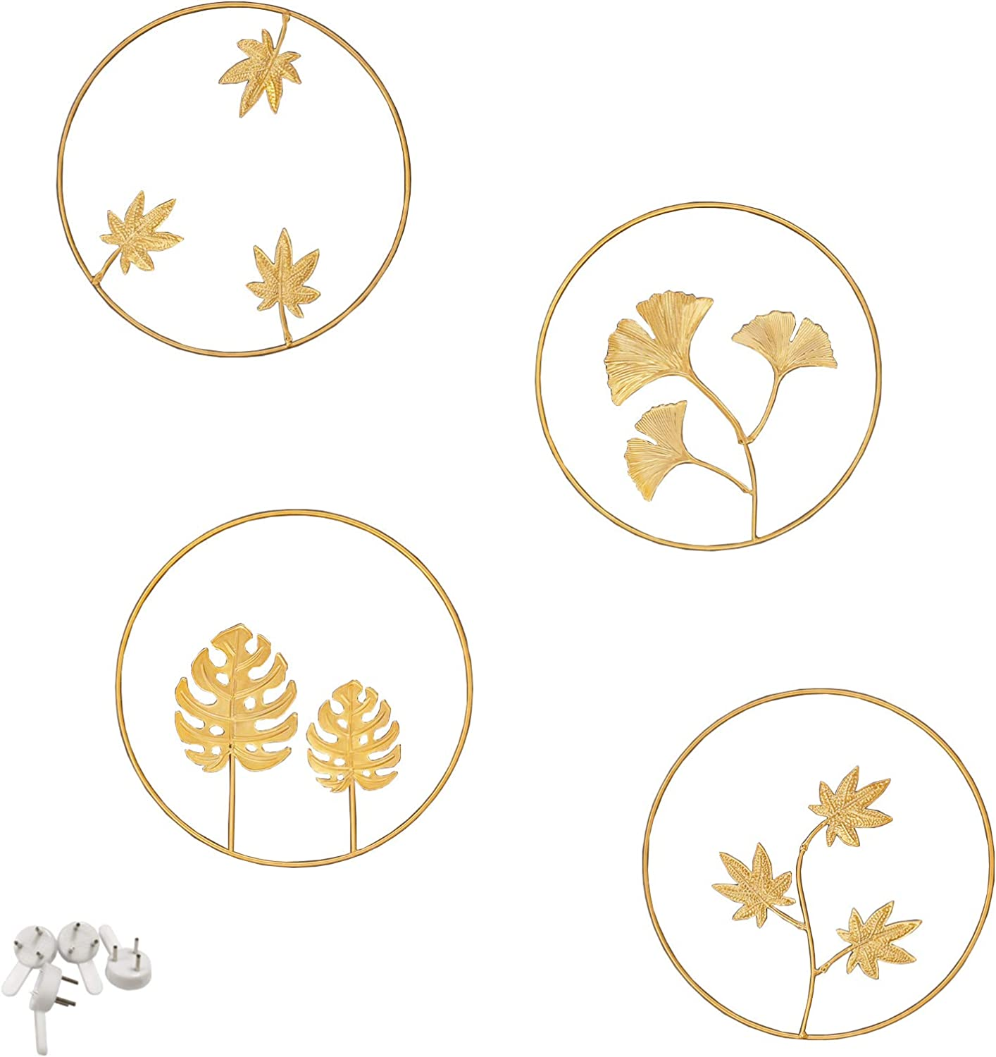 Tinsow Iron Wall Sculptures,Gold Metal Ginkgo, Maple, Monstera Leaf Wall Decor Round Wall Ornaments,Easy Installation Great for Bedroom Hanging Parts Hotel Wall Decoration (Gold, 4)