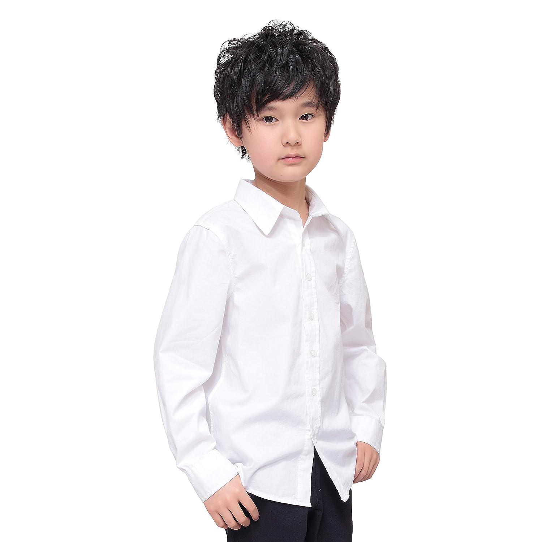 ANCORAGGIO Boys' Uniform Long Sleeve Poplin Dress Shirt