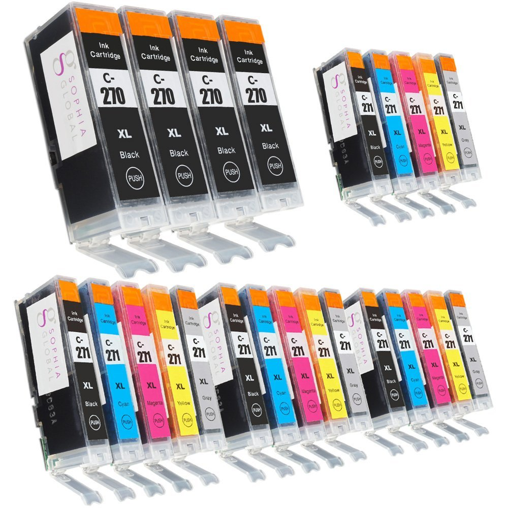Sophia Global Compatible Ink Cartridge Replacement for Canon PGI-270XL and CLI-271XL (4 Large Black, 4 Small Black, 4 Cyan, 4 Magenta, 4 Yellow, 4 Gray)