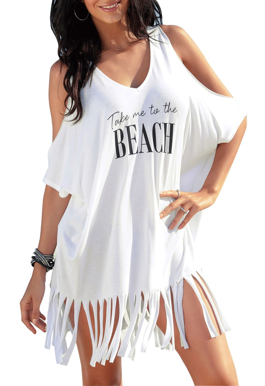 Yinggeli Womens Letters Print Baggy Swimwear Bikini Cover up Beach Dress T-Shirt(White)