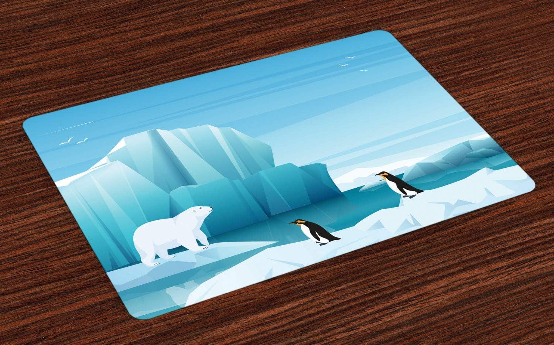 ABAKUHAUS Polo Norte Salvamantel Set de 4 Unidades, Ártico de ...