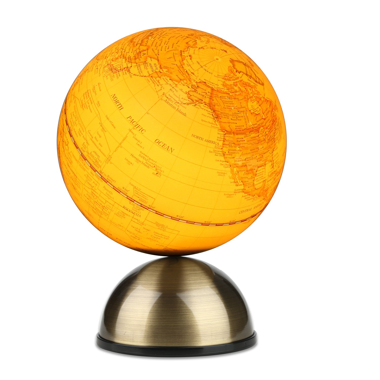 2 in 1 Globe Earth and Night light, Vintage Reference World Globe Home Work Decor Wedding Educational Gift 13cm With Metal Magnetic Base+Magnifier Ideal for Gifts and Home Decoration - illuminated TTKTK