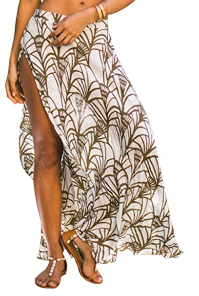 d98d768c9e Image Unavailable. Image not available for. Color: Omerker Womens Ethnic  Print Maxi Skirt Wrapped Sexy Bathing Suit Cover ...