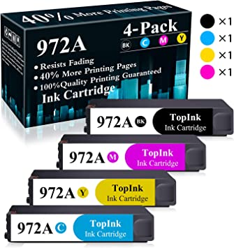 1 Pack Yellow 972A Remanufactured Ink Cartridge Replacement for HP PageWide Pro 452dn 452dw 477dn 477dw 552dw 577dw 577z MFP P57750DW MFP P55250DW Printers Ink Cartridge