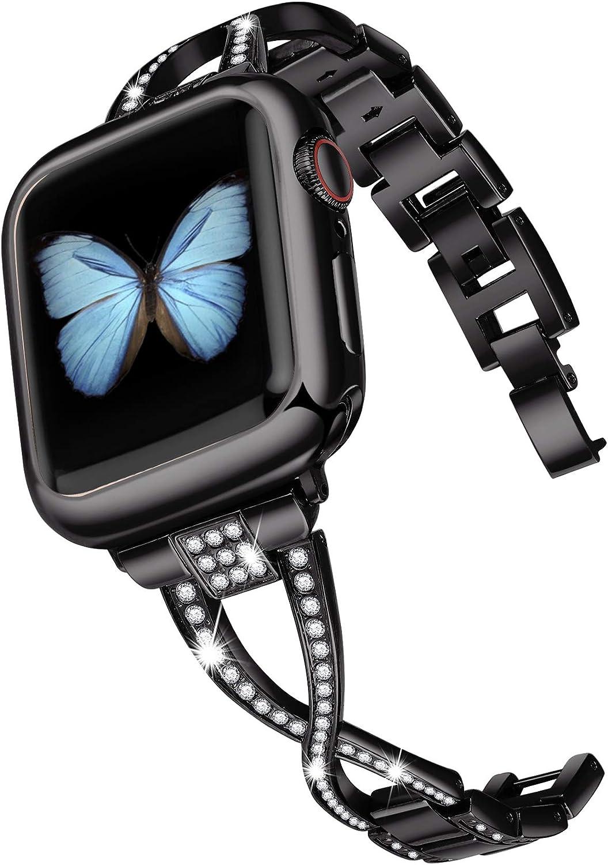 JSGJMY Bling Bands Compatible with Apple Watch Band 38mm 40mm 42mm 44mm Series 5/4/3/2/1 Women Diamond Rhinestone X-Link Metal Jewelry Bracelet(Black, 38mm/40mm)