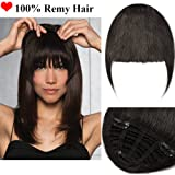 Clip in Fringe Hair Piece Human Hair 100% Remy One Piece Hair Extension Clip in Real Hairpiece for Women with Side Temples Straight (#1B Natural Black,25g)