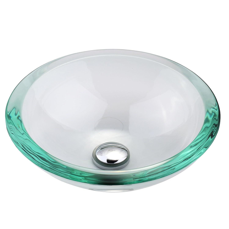 Clear 34mm edge Glass Vessel Bathroom Sink with PU-MR Satin Nickel