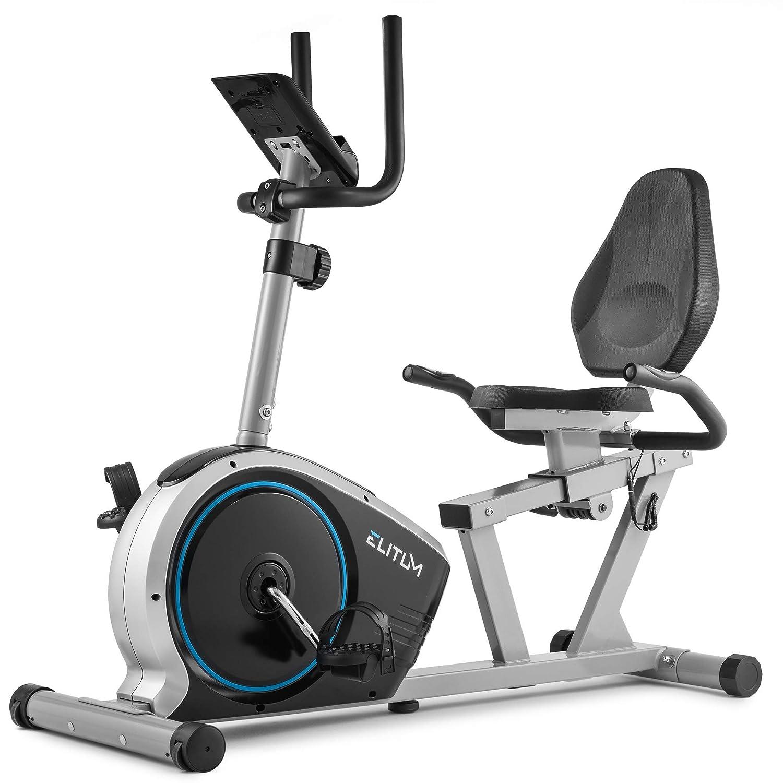 Elitum Liegeheimtrainer LX350 Sitzheimtrainer inkl. Pulsmessung Computer Schwungrad 11kg Belastbar bis 125kg Silber