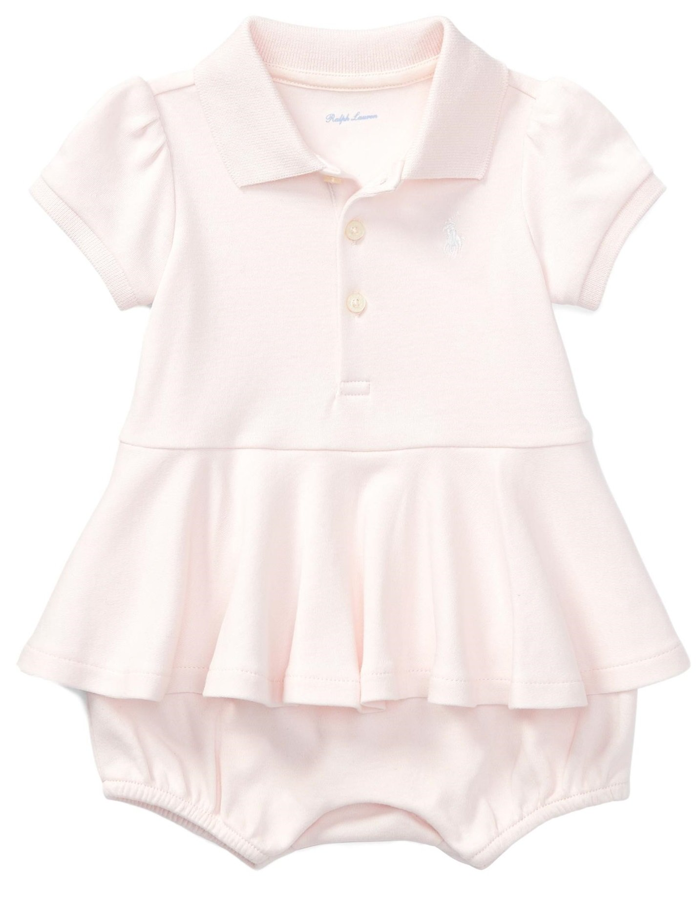 RALPH LAUREN Baby Girls Cotton Peplum Polo Romper