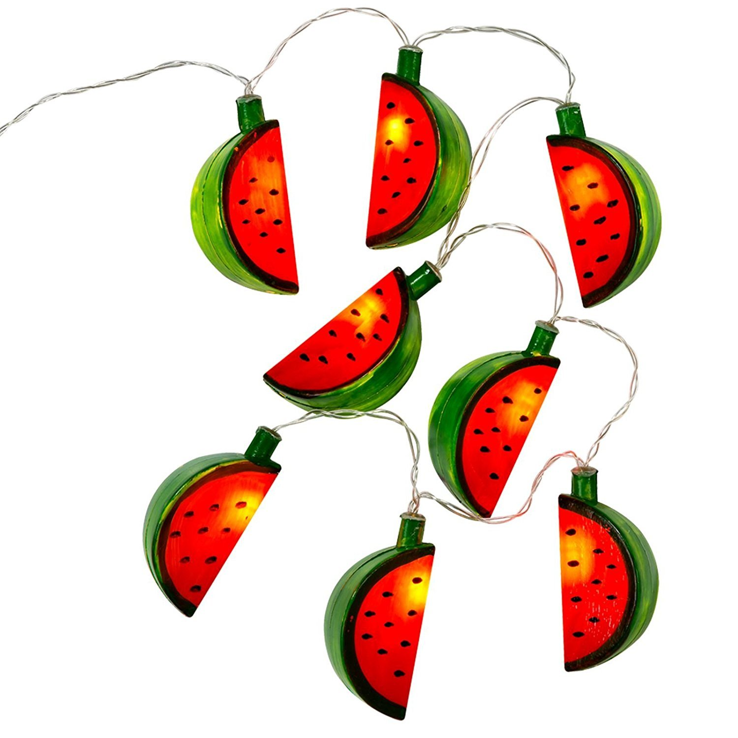 10 LED Watermelon Fairy String Light Outdoor/Indoor Christmas Led String Lights Battery Powered for House Plastic Garden Hanging Lamp Wedding Festive Beach Party Supplies Home DIY Decoration Summer