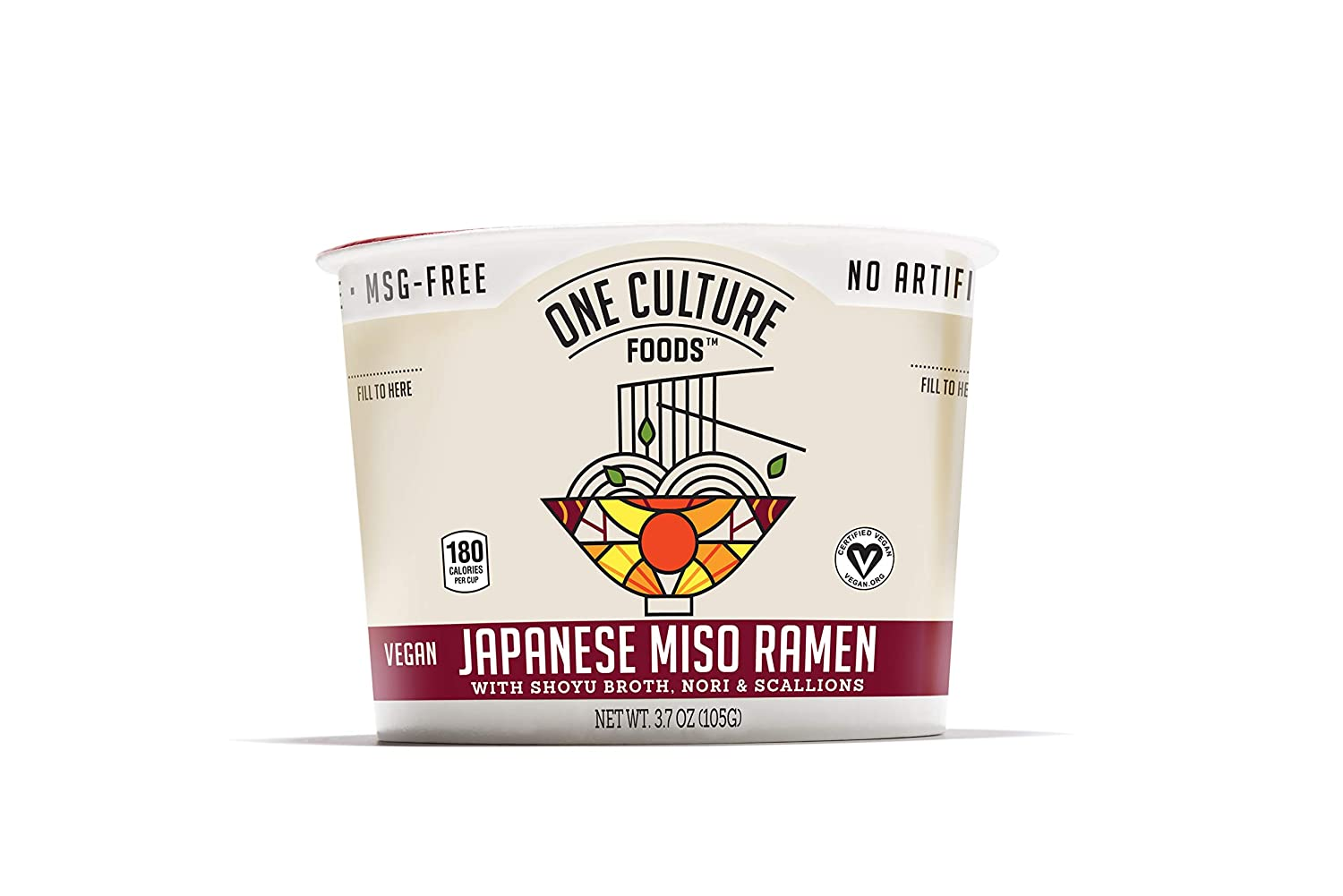 One Culture Foods Plant-Based Instant Cup Noodles, Japanese Miso Ramen - Natural - Non-GMO (Pack of 8)
