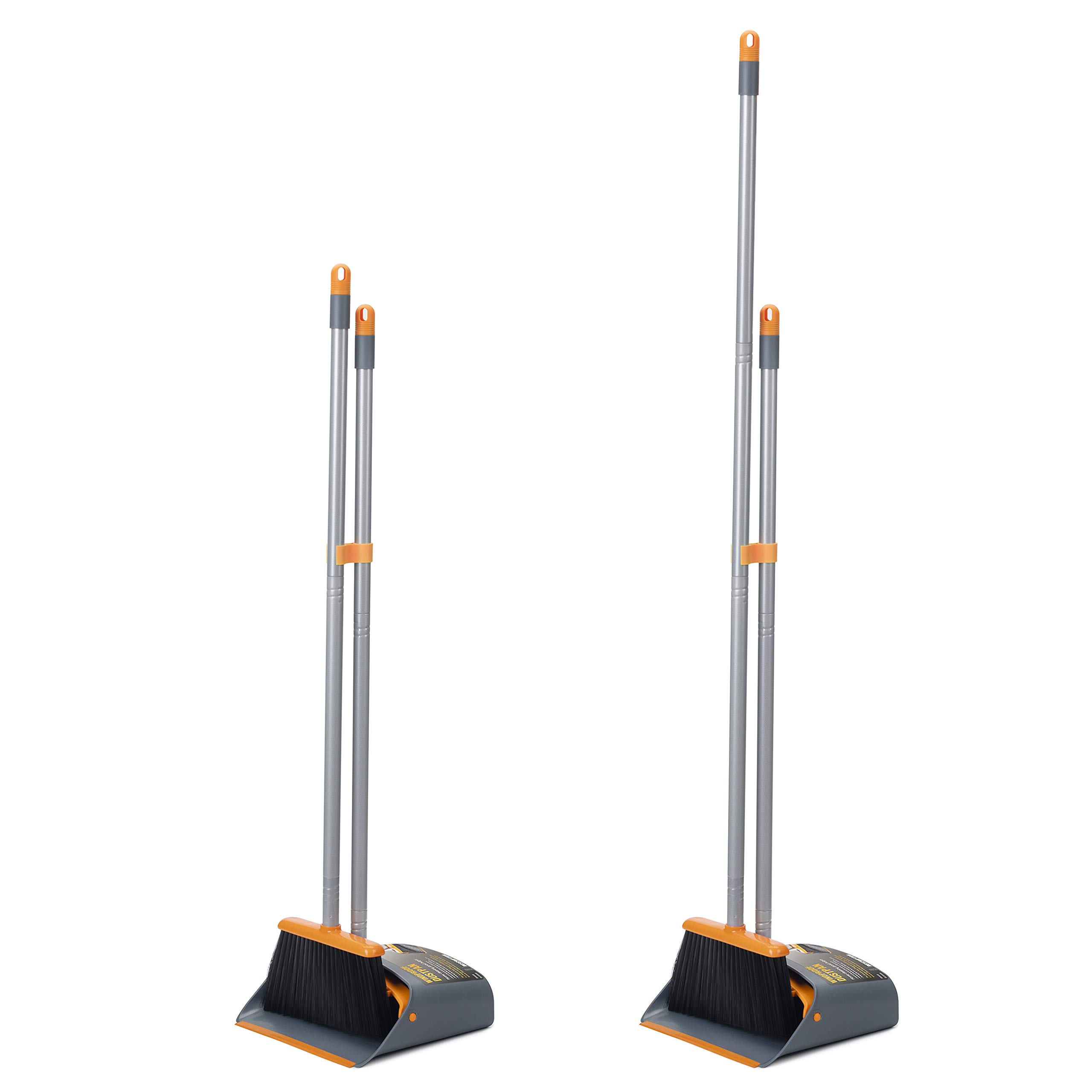 TooToo Broom and Dustpan Set, Sweep Set, Upright Broom and Dustpan Combo with 40''/54'' Long Extendable Handle for Household Cleaning Sweeping, Orange and Dark Grey by TooToo (Image #4)