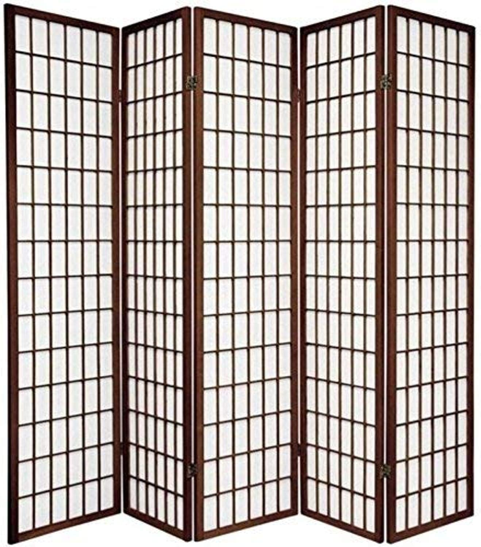 Oriental Furniture 6 ft. Tall Window Pane Shoji Screen - Walnut - 5 Panels