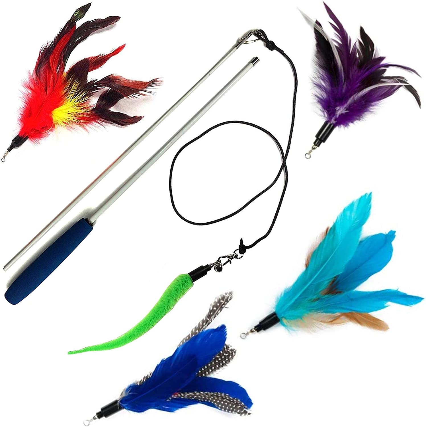 Pet Fit For Life 4 Feather Teaser and Squiggly Worm Exerciser Toy for Cat and Kitten - Interactive Play Wand