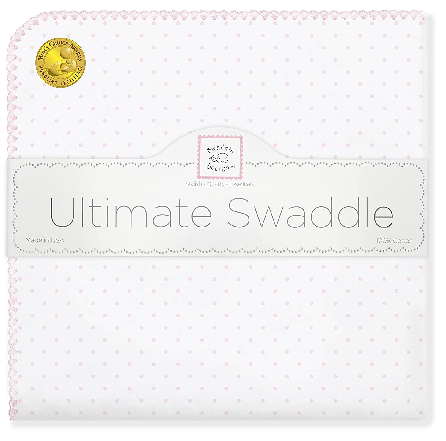 SwaddleDesigns Ultimate Swaddle, X-Large Receiving Blanket, Made in USA Premium Cotton Flannel, Pink Classic Polka Dots (Mom's Choice Award Winner) Pink Classic Polka Dots (Mom' s Choice Award Winner) SD-001P