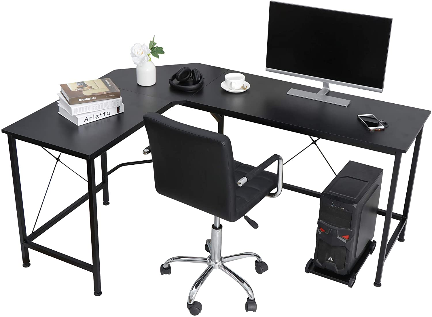 ZenStyle Modern L-Shape Corner Computer Desk Home Office PC Laptop Table Multipurpose Gaming Workstation with CPU Stand/Solid Steel Frame/Waterproof Desktop
