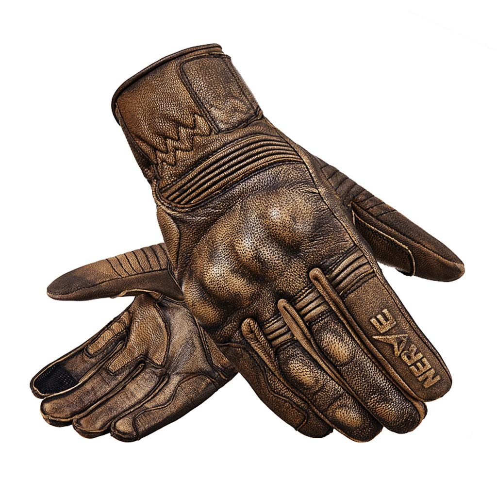 HU Motorrad Lederhandschuhe Retro Winter Riding Bruchsicherer Warm Touch Screen Eingebaute Schutzausrüstung Handschuhe