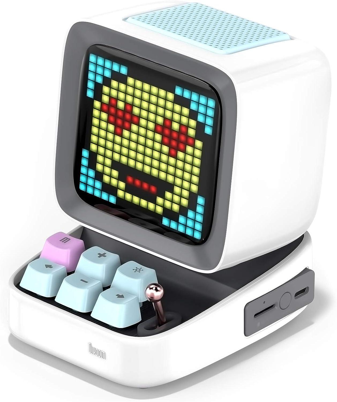 Divoom Ditoo Pixel Art Altavoz Bluetooth Multifuncional, Altavoz portátil Retro con Pantalla LED RGB, Teclado mecánico, Reloj Despertador Inteligente, Compatible con Tarjeta TF Radio (White)