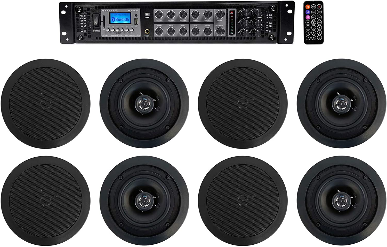 "Rockville Commercial Amp+(8) 5.25"" 2-Way Black Ceiling Speakers 4 Hotel/Office"