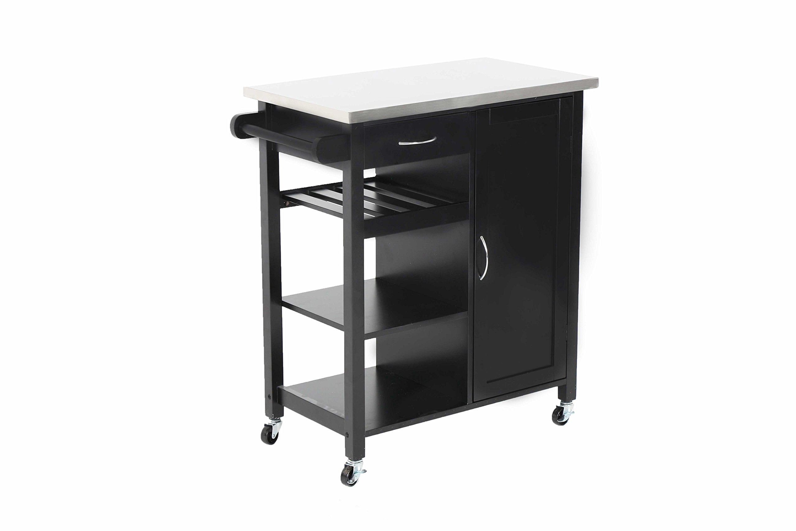 Oliver and Smith - Nashville Collection - Mobile Kitchen Island Cart on Wheels - Black - Stainless Steel Top - 32'' W x 17'' L x 36'' H 102118-01blk