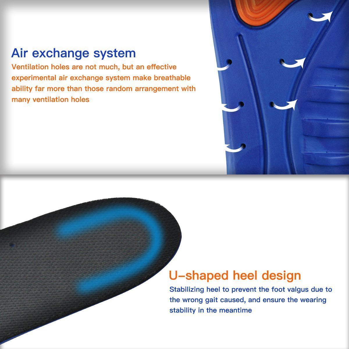 HLYOON Sports Gel Insoles and Shoe Inserts for Women and Men Breathable Cushion with small holes (UK Woman\'s (3-8))