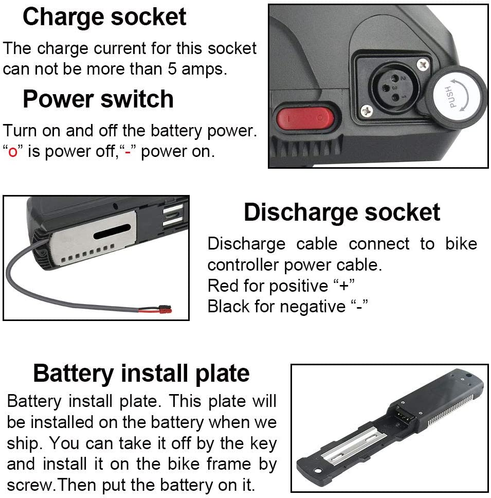 USB Port and Battery Level Light Waterproof Shell 1000w Electric Bike Battery 48V 13AH Ebike Battery for 1200w 1000w 750w 500w 350w Bike Motor Lithium ion Bike Battery with Charger
