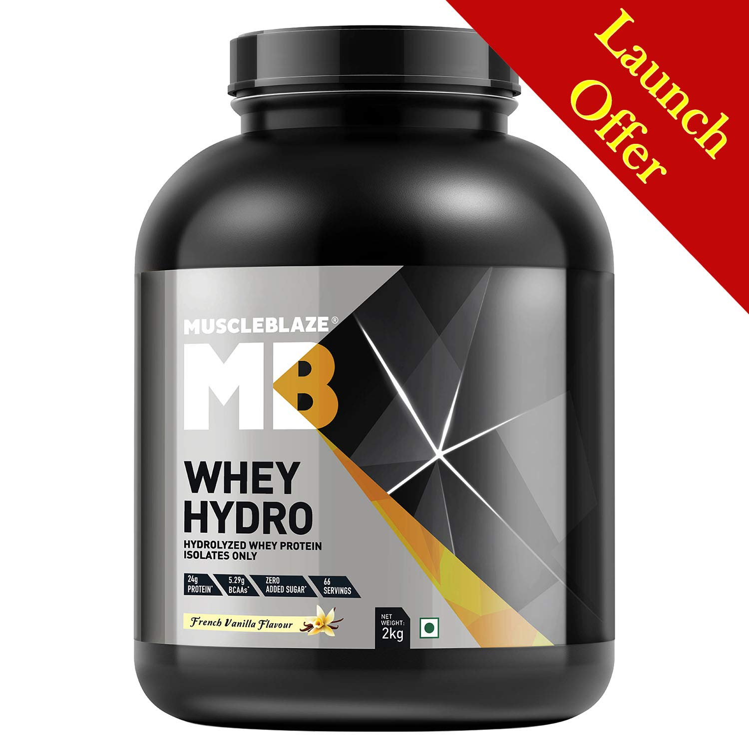 MuscleBlaze Whey Hydro Whey Protein Isolate (2 Kg, French Vanilla)