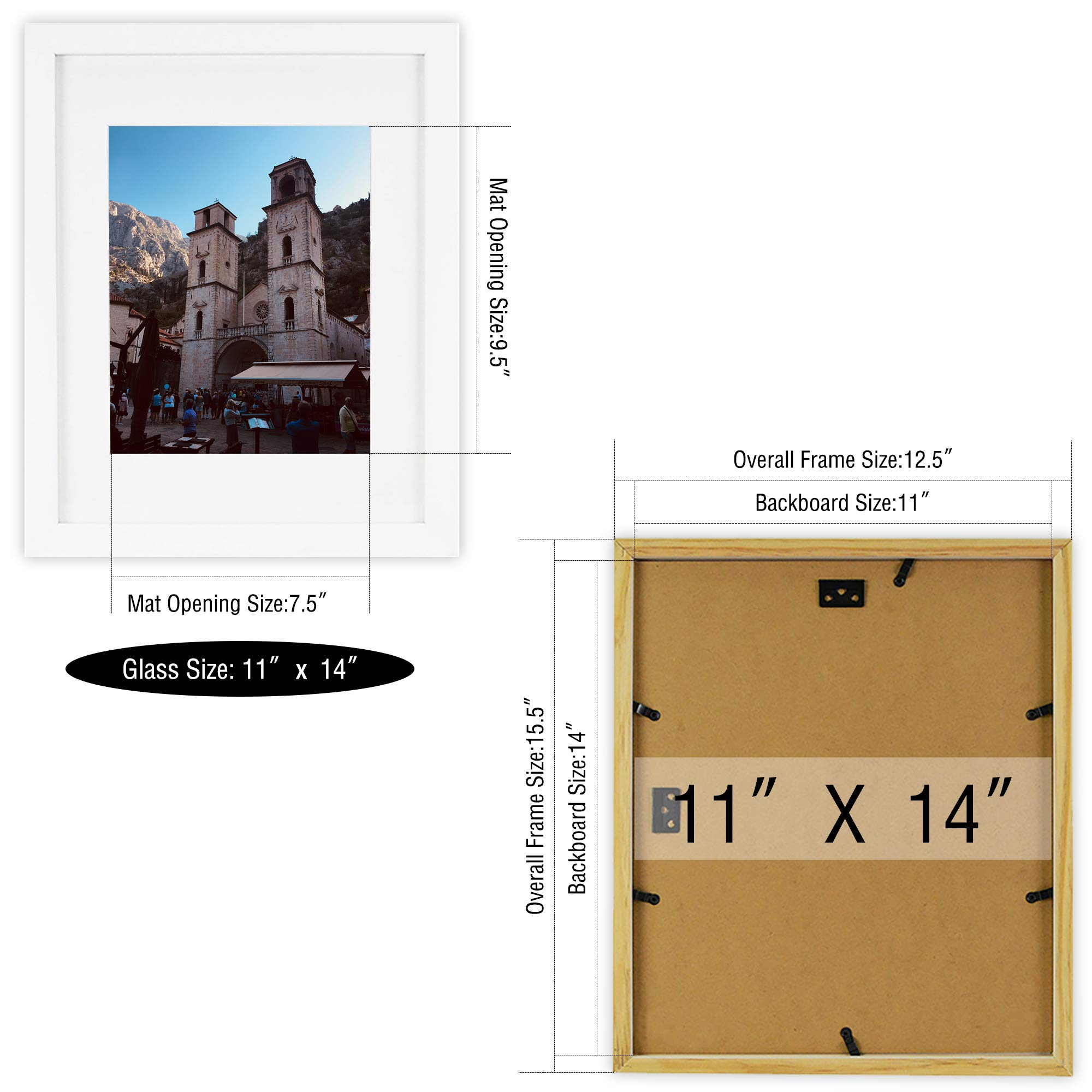 Golden State Art, Set of 2 White Photo Wood Frame 11x14 with Real Glass Mat for 8x10 Picture by Golden State Art (Image #5)