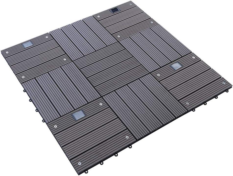 Home Deluxe WPC Holzfliese Anthrazit 1 m/² 11 Fliesen /á 30 x 30 cm verschiedene Farben und Mengen