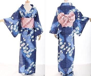 dbfe3d16dc33 K - 51 fleurs japonais bleu kimono femme oRIGINAL yUKATA oBI kawaii story- ceinture