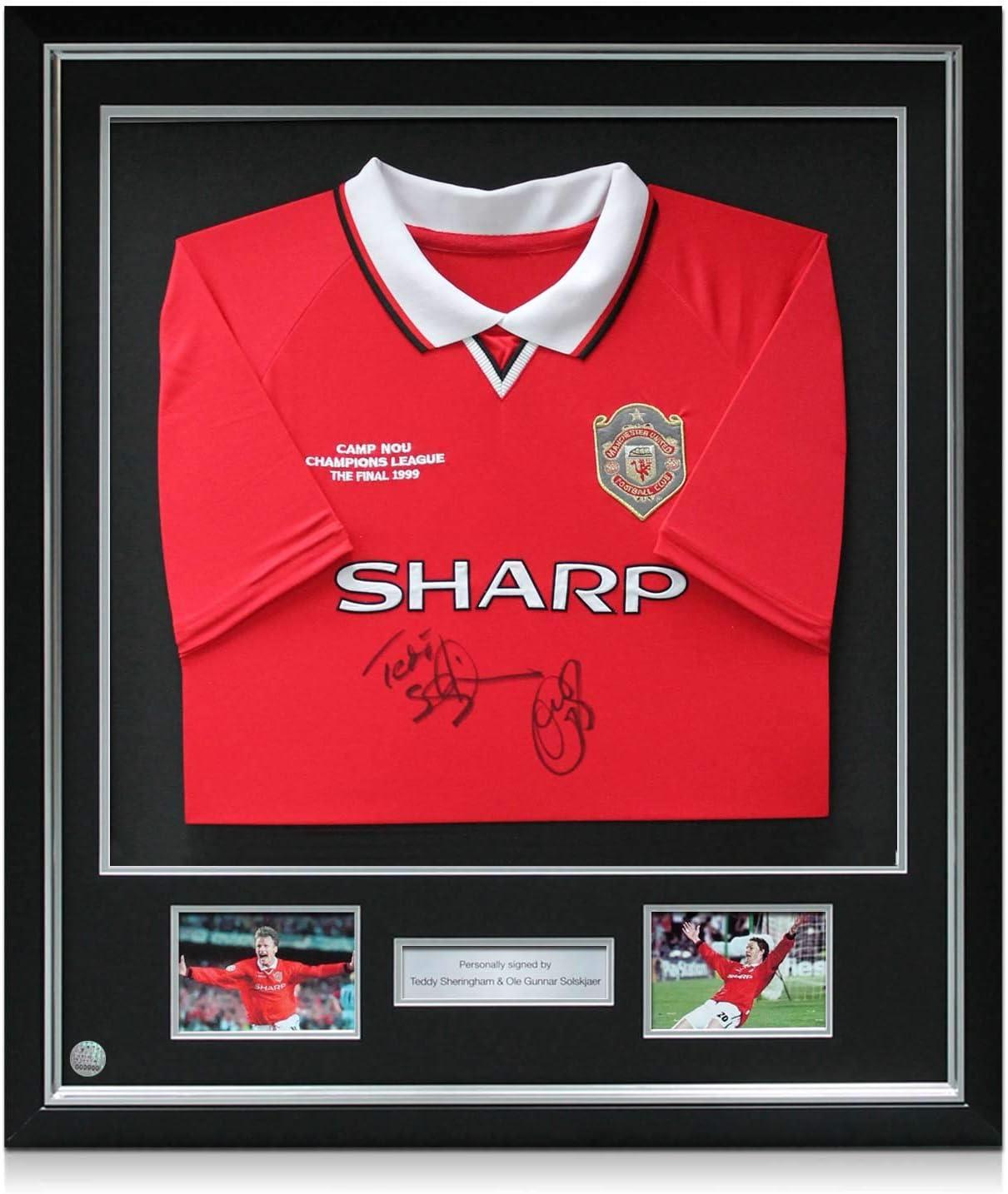 exclusivememorabilia.com Camiseta del Manchester United firmada por Teddy Sheringham y Ole Gunnar Solskjaer. Marco: Amazon.es: Deportes y aire libre
