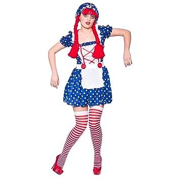 Disfraz para mujer, diseño de muñeca de trapo: Talla XS 34 ...