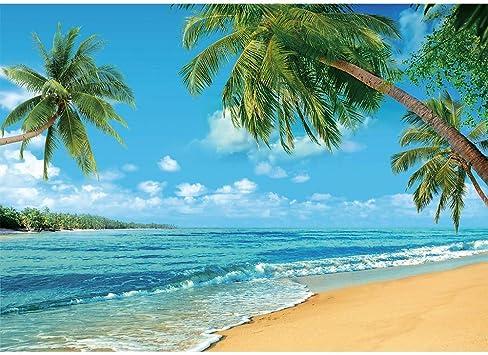 8x6ft Palm Tree Hawaii Beach Summer Blue Ocean Background Photography Cloth Photo Background Birthday Party Wallpaper Studio Wedding Cloth Family Portrait Background Cloth Vinyl