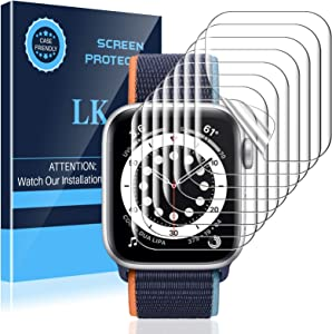 LK 8 Pack Screen Protector Compatible with Apple Watch 40MM 6 SE Series 5 Series 4 Max Coverage, Self-Healing, Bubble Free, HD Transparent, Flexible TPU Film