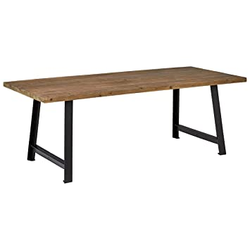 Rivet Rustic Industrial Dining Room Kitchen Table 86 6 Inch Wide Natural Wood Black Iron