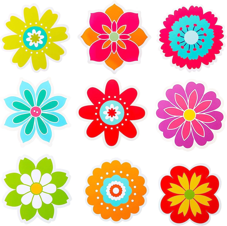45 Pieces Spring Flower Cutouts Mini Retro Flower Cutouts Springtime Cut-Outs for Bulletin Board Classroom School Party Decoration