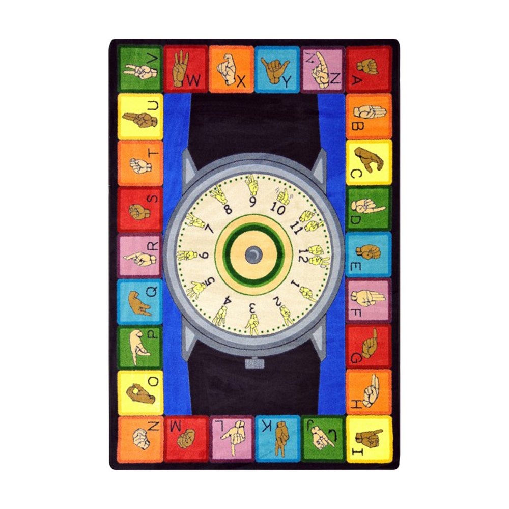 Joy Carpets Kid Essentials Music & Special Needs Signs of The Time Rug, Multicolored, 5'4'' x 7'8''