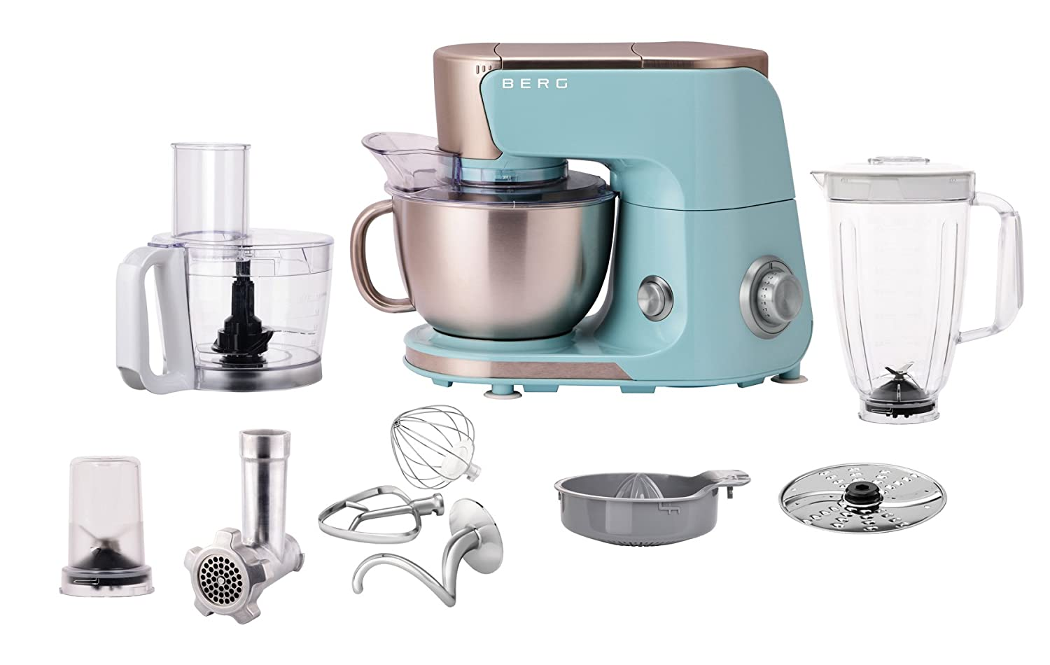 Berg 1000 Watt 4 Litre Electric Kitchen Food Stand 10 in 1 Multi Mixer With Bowl, Splash Guard, Dough Hook, Whisk, Beater, Juicer, Blender, Food Processor, Meat Grinder, Coffee Mill (Blue)