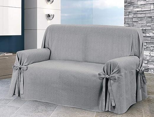 HomeLife – Funda de sofá de dos o tres plazas – Funda de sofá elegante a rayas – Funda
